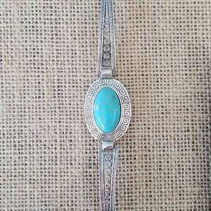 Southwestern Silver & Turquoise Clasp Bracelet